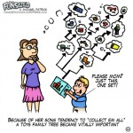 Fun sized comic cartoon woman and son shopping looking at possible family tree of toy