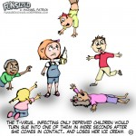 Fun sized comic cartoon zombie kids attack girl with ice cream because their deprived