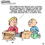 Fun sized comic cartoon two toddlers talking about playing with cardboard boxes