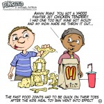 Fun Sized comic cartoon kids at mcdonalds playing with fried nuggets as toys after ban