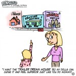 Fun sized comic cartoon mom and daughter at store buying trailer park play dream house