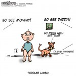 Fun Sized comic cartoon toddler limbo cat go see mommy and daddy