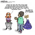 Fun sized comic cartoon two friends discuss awkwardness in seeing each other twice in grocery store