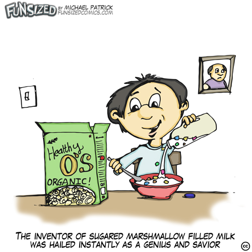 fun sized comic cartoon boy eating healthy cereal pours in milk with marshmallows