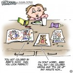 fun sized comic cartoon kid colors book badly while mom colors page perfectly argue insues