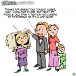 fun sized comic cartoon funny television cardboard on head as babysitter