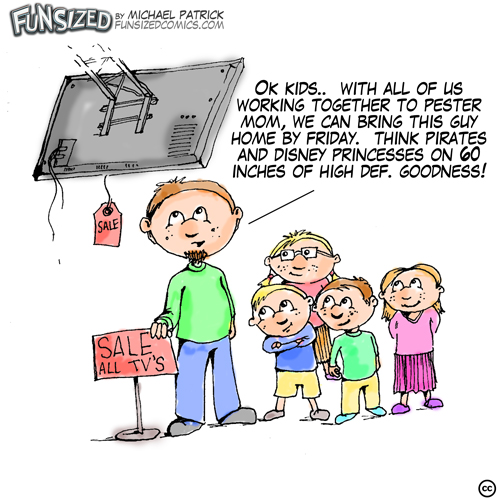 Fun sized comic cartoon dad with kids pestering mom to buy big screen lcd tv plasma