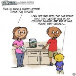 Fun sized comic cartoon funny dad and wife stealing from kids college jar and getting caught by son