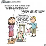 fun sized comic cartoon dad and mom fighting over broken lamp by baby