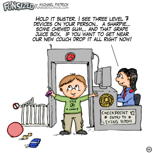 Fun sized comics cartoon funny TSA flight security airport style for finding pens and gum in kids