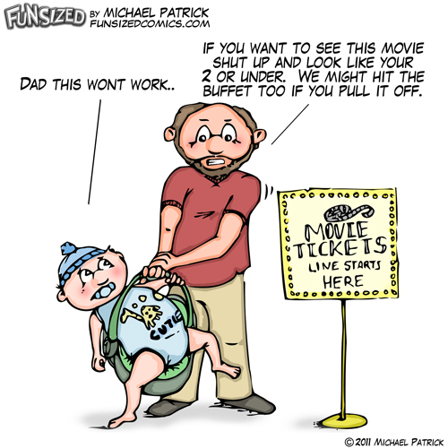 Fun sized funny parenting comic cheap dad makes son fake being a baby to get into theater for free and buffet