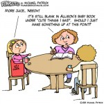 Fun sized funny parenting comic cartoon parents writing in baby book have no inspiration for cute things daughter says