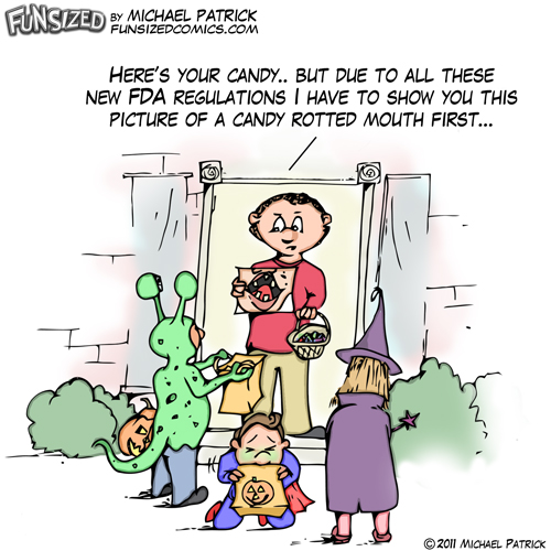 Fun sized funny parenting comic halloween 2011 FDA regulations cigerette ads nasty mouth picture rotting