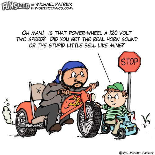Fun sized funny parenting comic funny cartoon biker powerwheel bike stop sign vehicle
