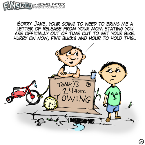 Fun sized comic cartoon funny towing company ran by kids very corrupt
