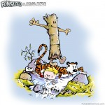 calvin and hobbes parody log walking over bill watterson characters tiger boy
